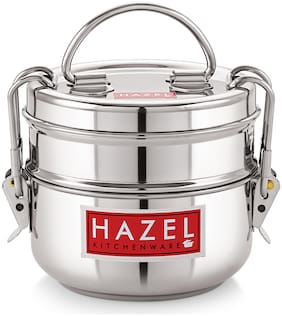 Hazel 2 Container Stainless Steel Lunch Box Set of 1 ( Silver ,  900 ml )