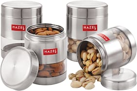HAZEL Stainless Steel Transparent Matt Finish See Through Container;Silver;Set Of 4,400 ml