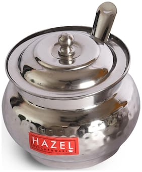 Hazel Stainless Steel Ghee Pot Hammered Finish Oil Container, 150ml, Silver