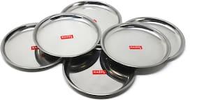 Hazel Stainless Steel Dinner Plates with Mirror Finish  Diameter 16 cm - Set of 6pc