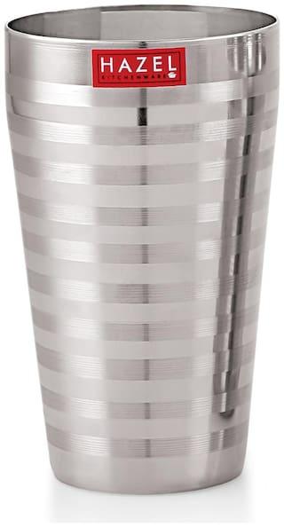 Hazel Stainless Steel Stripped Design Traditional Shape Jumbo Water Lassi Glass;750 ML
