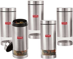 Hazel Stainless Steel Transparent See Through Container Set Of 5;Silver;950 ml Each