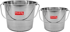 Hazel Stainless Steel Non Joint Leak Proof Water Storage Bucket Set Of 2;4 L And 7.3 L;Silver