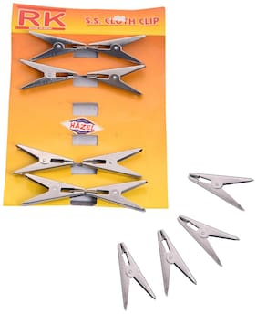 Hazel Stainless Steel Cloth Clips -Set Of 12