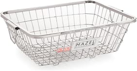 Hazel Stainless Steel Dish Drainer Bowl Bartan Basket Utensil Drying Rack Rectangle Large Stand for Kitchen