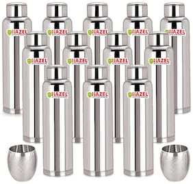 Hazel 900 ml Stainless Steel Silver Water Bottles - Set of 12