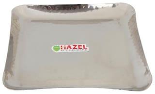 Hazel Stainless Steel Square Serving Plates Hammered 23 cm
