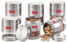 Hazel 450 ml Silver Stainless steel Container Set - Set of 6