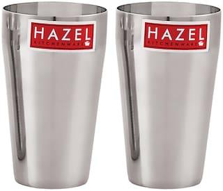 Hazel Stainless Steel Plain Traditional Jumbo Water Lassi Glass Set of 2;750 ML Each