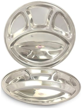 Hazel Steel 4 Compartment Dinner Plate With Serving Bowl, Medium, 2 pc