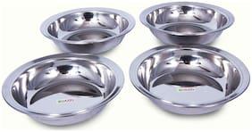 Hazel Steel Dahi wada Mixing Bowl Set of 4; 600 ml