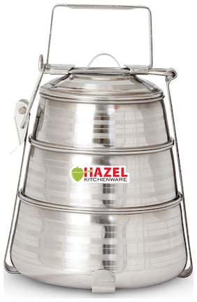 Hazel Steel Tiffin Pyramid - 3 Containers Set