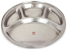 Hazel Steel 4 Compartment Langar Thali, Large, 1 Pc