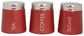 Hazel Tea Coffee Sugar Containers, 700 ml, Mild Steel, Red, 3 Pc Set