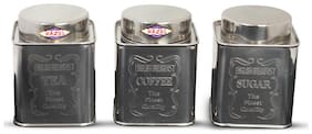 Hazel Tea Coffee Sugar Square Crome Containers, 800 ml, Stainless Steel, Silver, 3 Pc Set