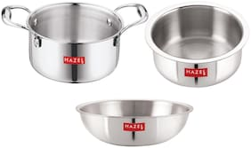 HAZEL Triply Stainless Steel Induction Bottom Tope and Tope With Handle 2.3 L;Tasra 1.2 L