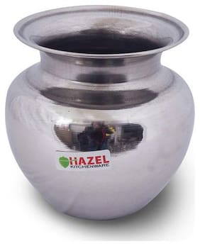 Hazel Water Storage Stainless Steel Puja Lota Container (550 ml), Silver