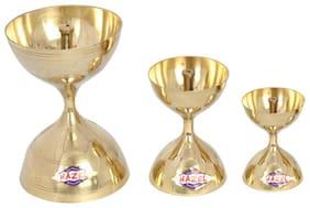 HazelBrass Diya Oil Lamp Pooja Nanda Deep -3 Pcs