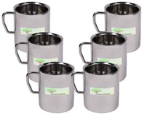 Hazzlewood 200 ml  Stainless Steel each Coffee Mug (Pack of 6 )