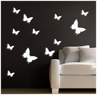 HD-010 white butterfly Wall Sticker JAAMSO ROYALS