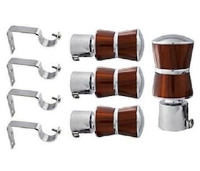 HD Interio chrome finished metal Curtain Bracket Set Of 4 with support (Elegant look with strong material)