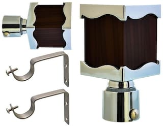 HD Interio chrome finished metal Curtain Bracket Set Of 2 with support (Elegant look with strong material)