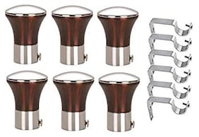 Hd Interio Designer Aluminium Curtian Knobs Pack Of 6 With Free Steel Supports