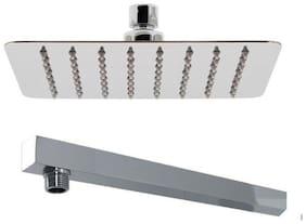 Hdinterio 10x10 Ultra Slim Brass Rain shower with 12 inch Arm