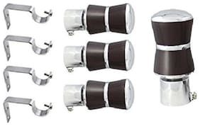 Hdinterio prime series rich look strong Alloy metal curtain brackets set of 4 with supports