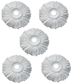 Head Refill for Rotating Spin Mop Cleaner Cleaning Wipe (Pack of 5) White Cotton
