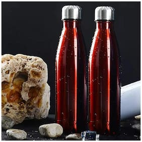 HEALTH MECHANIC Red Thermosteel flask ( 500 ml , Set of 2 )