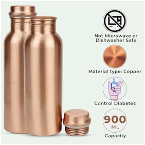 HEALTH MECHANIC Copper Brown Water Bottle ( 900 ml , Set of 2 )