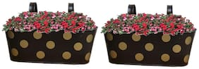 Heaven Decor Metal Brown Oval Shape Railing Planter ,Railing Flower Garden Pots and Wall Planters for Balcony Set Of 2