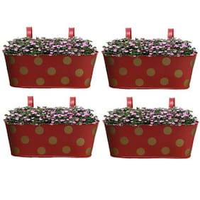 Heaven Decor Metal Oval Shape Railing Planter ,Railing Flower Garden Pots and Wall Planters for Balcony Set Of 4 Red