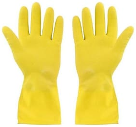 Heavy Duty Disposable Yellow Rubber Latex Kitchen & Household Cleaning Gloves (Pair of 2) Yellow