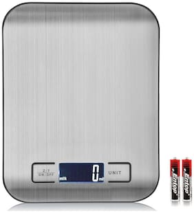 Heavy Duty Kitchen/Lab Scale With Multi-Function Back-Lit LCD Display, Stainless Steel, 5 kg Capacity