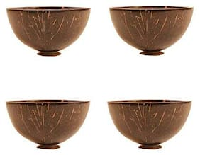 Hello Perfect Hand Made Coconut Shell Bowl with Pouch (Natural Brown with Outside Mat Finishing) -Set of 4
