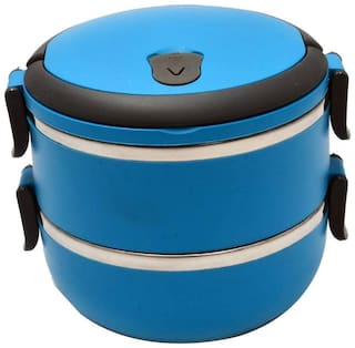 Hengli Stainless Steel 2 Layer Lunch Box (1Pc) Multi Color