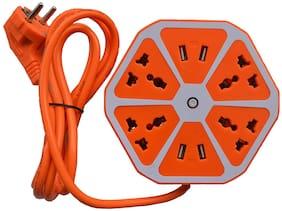 Daylfonos Three Pin Orange Extension Board ( 2 m , 4 Socket , 1 Switches)