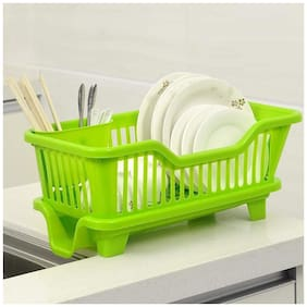 HEXON 3 in 1 Kitchen Sink Dish Drainer Drying Rack Washing Holder Basket Organizer with Drain Tray and Cutlery Holder- Green