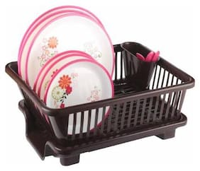 HEXON 3 in 1 Kitchen Sink Dish Drainer Drying Rack Washing Holder Basket Organizer with Drain Tray and Cutlery Holder-Brown