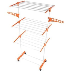 Hi Quality 24 Rods Cloth Drying Stand Rack Steel Laundry Hanger With Wheels