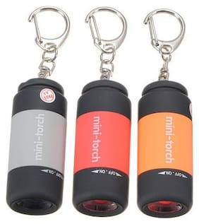 High-Powered Waterproof Mini USB Led Portable Pocket Torch Key Ring, Built In USB Torch- 3pc
