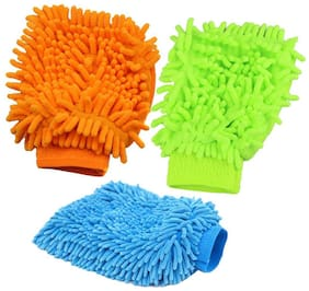 High Quality Microfiber Hand Duster Washing Glove for Cleaning of Car, Bike, Laptop, Desktop Etc  (3Pc) Multicolor