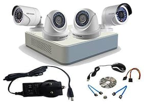 Hikvision 4Ch Turbo HD Dvr Dome Bullet Camera Combo Kit (Ds-7104Hghi-F1 +Ds-2Ce56C0T-Irp + Ds-2Ce16C0T-Irp;White) Without Accessoreis
