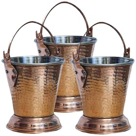 Himani Kitchenware Steel Copper Bucket (3 pcs)