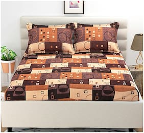 HIND WEAVE Microfiber 3D Printed Double Bedsheet ( 1 Bedsheet with 2 Pillow Covers , Brown & Beige )