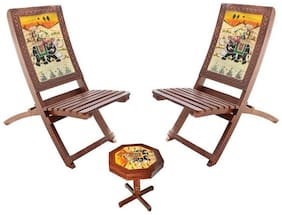 Hindoro Handcrafted And Handpainted Folding Chairs And Table Set - 2 Chairs And 1 Table