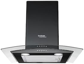 Hindware 60 cm 1100 m3/h Auto clean Stainless steel Chimney - 200 w , Black ,