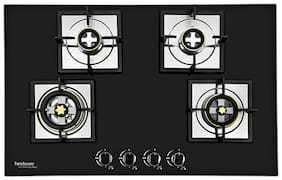 Hindware HINDWARE 4 Burners Stainless Steel Hob Top Gas Stove - Black , Auto Ignition